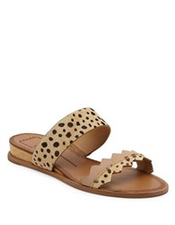 Dolce Vita Pacer Calf Fur And Leather Blend Wedge Sandals Leopard