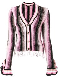 Marco De Vincenzo Frill Sleeve Fitted Cardigan Multicolour