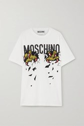 Moschino Oversized Embroidered Printed Cotton Jersey T Shirt White