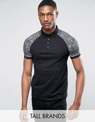 Jacamo Tall Polo With Marble Sleeve In Black Black