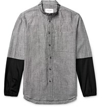 Public School Grandad Collar Poplin Trimmed Micro Checked Linen Blend Shirt Black