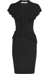 Givenchy Ruffled Ribbed Knit Dress Black