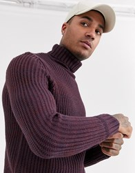 Bershka Knitted Roll Neck Jumper In Purple