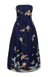 Sea Strapless Embroidered Party Dress Blue