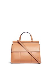 Tory Burch 'Block T' Leather Satchel Brown