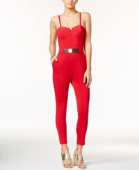 Material Girl Strapless Jumpsuit Lipstick Red