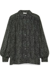 Anine Bing Caleb Oversized Animal Print Silk Crepon Blouse Forest Green