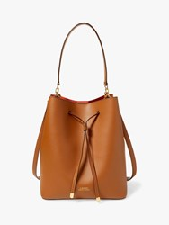 Ralph Lauren Dryden Debby Leather Medium Bucket Bag Field Brown Orange