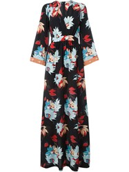 Etro Floral Wrap Maxi Dress Black