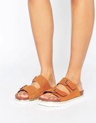 Vero Moda Leather Flatform Buckle Slide Sandals Cognac Tan