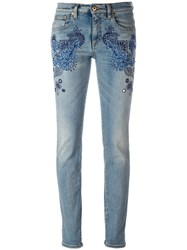 Roberto Cavalli Embroidered Vintage Effect Skinny Jeans Blue