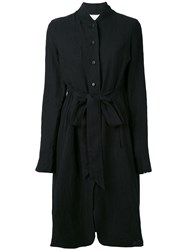 Aleksandr Manamis Pleated Back Lightweight Coat Women Cotton Linen Flax I Black