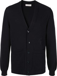 Gieves And Hawkes Embroidered Logo Cardigan Blue
