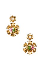 Mercedes Salazar Double Flower Pearl Earrings In Metallic Gold.