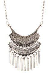 Stephan And Co Large Fringed Pendant Necklace Metallic