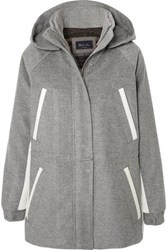 Loro Piana Hooded Leather Trimmed Cashmere Parka Light Gray