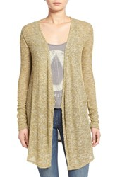 Junior Women's Volcom 'Ready To Go' Rib Knit Cardigan Army Green