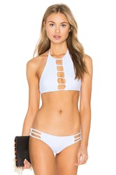 Bettinis Strappy Halter Bikini Top White