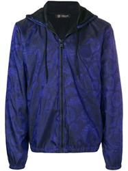 Versace Medusa Print Hooded Jacket Blue