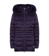 M. Miller Giselle Fur Trim Hooded Coat Female Purple