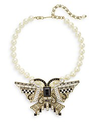 Heidi Daus Flutter Fly Swarovski Crystal And Faux Pearl Necklace Gold
