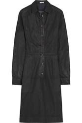 Tomas Maier Coated Denim Shirt Dress Dark Denim