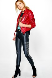 Boohoo Wet Look Stud Detail Leggings Black