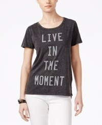 Hybrid Juniors' Live In The Moment Graphic T Shirt Black