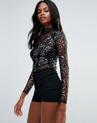 First And I Lace High Neck Blouse With Lace Detail Black W Silver