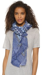 Diane Von Furstenberg Grace Window Pane Scarf Denim Window Pane Scarf