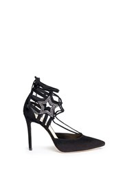 Isa Tapia 'Oprieta' Cutout Star Crystal Suede Pumps Black
