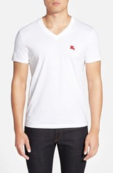 Men's Burberry Brit 'Lindon' V Neck Cotton T Shirt Optic White