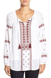 Women's Caslon Embroidered Peasant Tunic Top