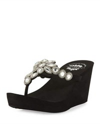 Premium Collection By Yellow Box Cerise Embellished Wedge Sandal