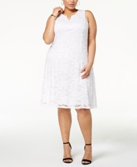 Jm Collection Plus Size Lace Keyhole Dress Created For Macy's Bright White