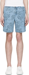 Closed Blue Floral Patterned Shorts