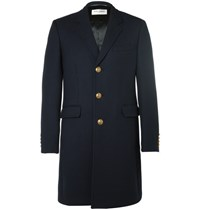 Saint Laurent Slim Fit Wool And Silk Blend Twill Coat Navy