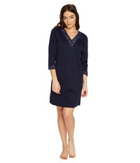 Hanro Moments 3 4 Sleeve Big Shirt 7736 Deep Midnight Women's Pajama Black
