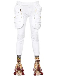 Dsquared Stretch Twill Cotton Cargo Pants White