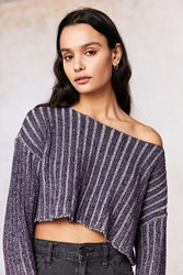 Silence And Noise Kylie Ribbed Crop Sweater Purple Multi