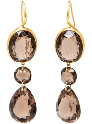 Marie Helene De Taillac 18Kt Yellow Gold And Smokey Quartz Earrings Metallic