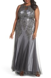 Decode 1.8 Plus Size Beaded Godet Mesh Trumpet Gown Charcoal