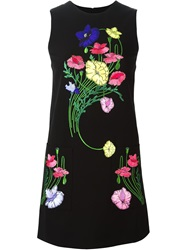 Christopher Kane Floral Embroidered Shift Dress Black