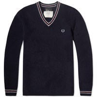 Fred Perry Shetland Wool V Neck Sweater Blue Granite