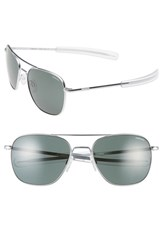 Women's Randolph Engineering 58Mm Aviator Sunglasses Matte Chrome