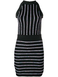 Balmain Contrasting Embroidered Stripes Dress Black