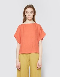Black Crane Linen Box Tee In Paprika