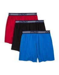Nautica Three Pack Knit Cotton Boxer Briefs Nautica Red