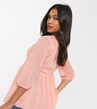 New Look Maternity Button Front Peplum Blouse In Pink