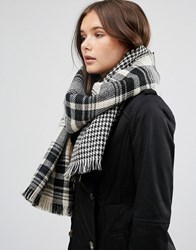 French Connection Tartan Oversized Scarf Black White